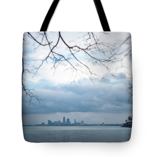 Cleveland Skyline With A Vintage Lens Tote Bag