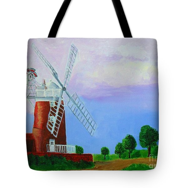 Tote Bag featuring the painting Cley Mill by Rodney Campbell