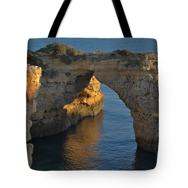 Cliff Arch In Albandeira Beach During Sunset 2 Tote Bag by Angelo DeVal