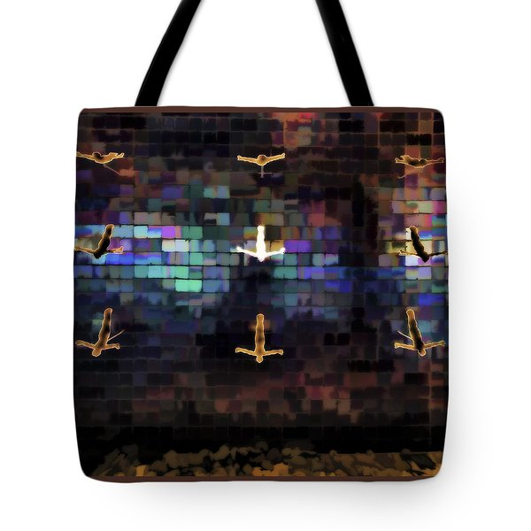 Tote Bag featuring the photograph Cliff Diver Wall by Steve Siri