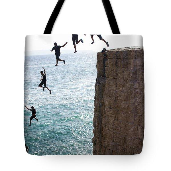 Cliff Diving Tote Bag