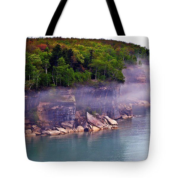 Tote Bag featuring the photograph Cliff Fog by SimplyCMB