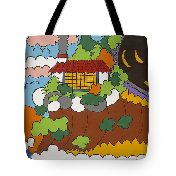 Cliff House Over Ocean Tote Bag by Rojax Art