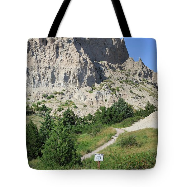 Cliff Shelf Trail In Badlands National Park South Dakota Tote Bag by Louise Heusinkveld