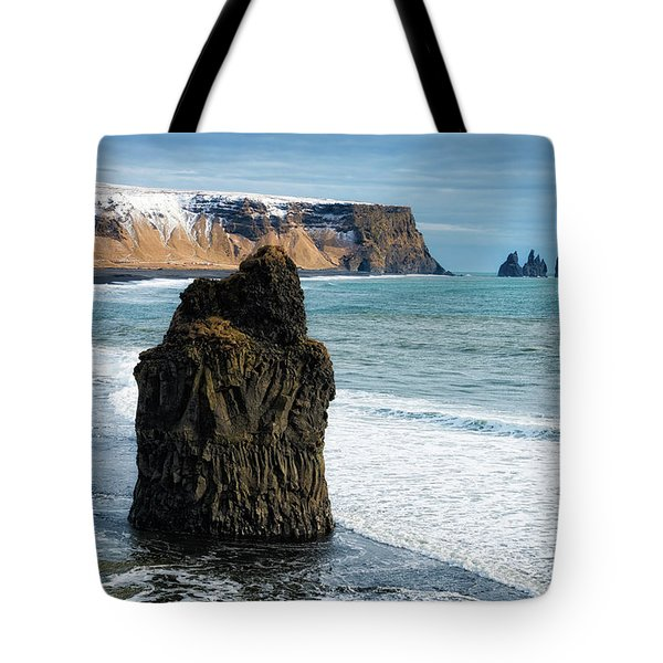 Tote Bag featuring the photograph Cliffs And Ocean In Iceland Reynisfjara by Matthias Hauser
