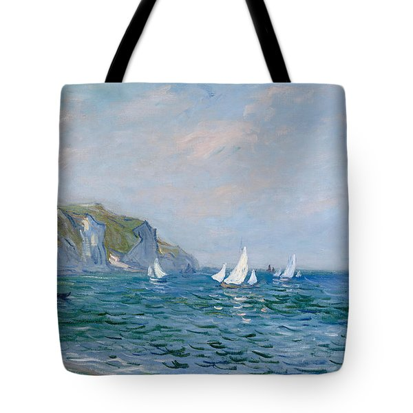 Cliffs And Sailboats At Pourville  Tote Bag