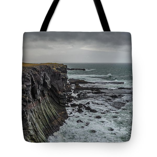 Tote Bag featuring the photograph Cliffs At Arnarstapi by James Billings