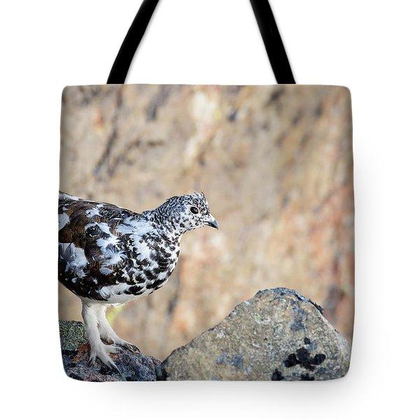 Cliffside Ptarmigan Tote Bag
