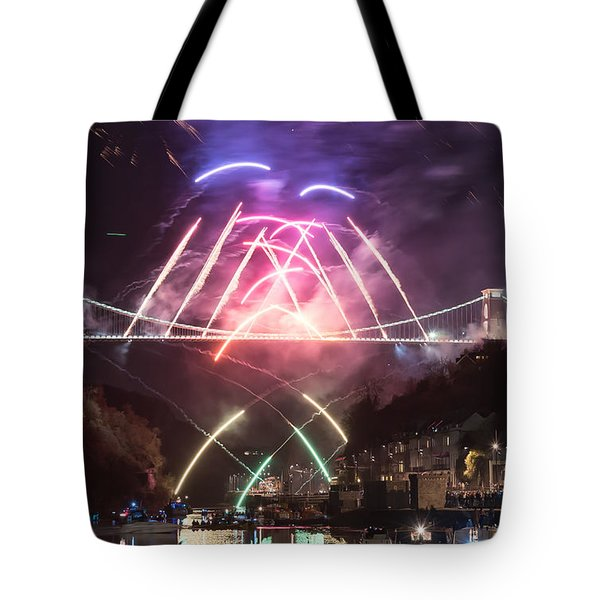 Clifton Suspension Bridge Fireworks Tote Bag by Colin Rayner