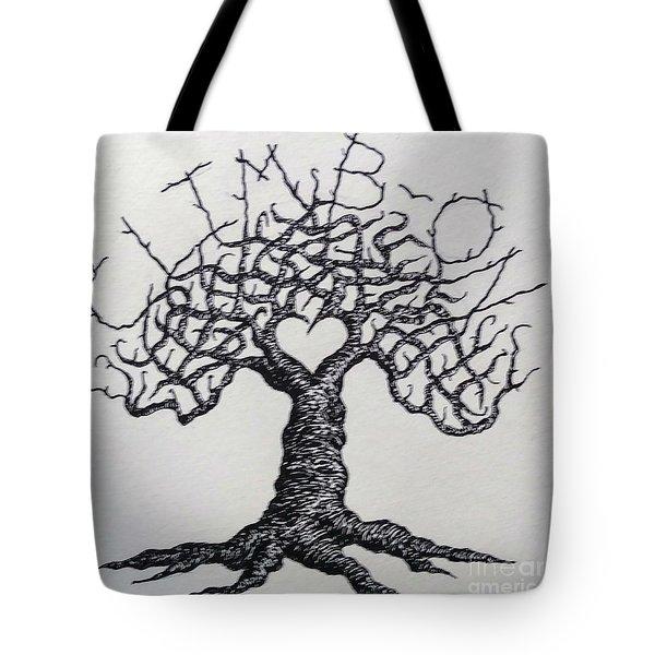 Climb-on Love Tree- Blk/wht Tote Bag