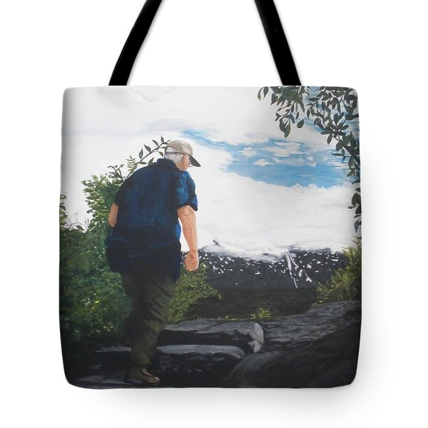 Tote Bag featuring the painting Climbing To The Glacier... by Betty-Anne McDonald