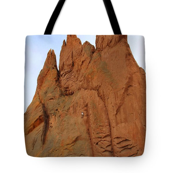 Climbing With The Gods Tote Bag by Mike McGlothlen