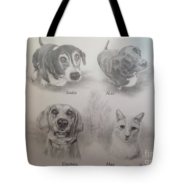 Tote Bag featuring the drawing Cline Pets by Mike Ivey
