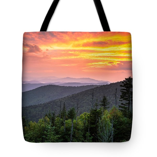 Clingmans Dome Great Smoky Mountains - Purple Mountains Majesty Tote Bag