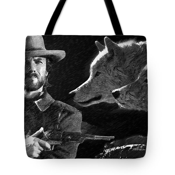 Clint Eastwood With Wolves Tote Bag