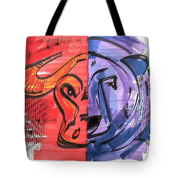 Tote Bag featuring the drawing Clip Art Of Bear And Bull Of Stock Market by Ariadna De Raadt
