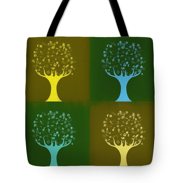 Tote Bag featuring the mixed media Clip Art Trees by Dan Sproul