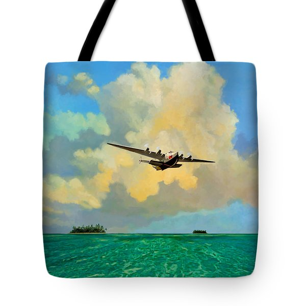 Tote Bag featuring the painting Clipper Over The Islands by David  Van Hulst