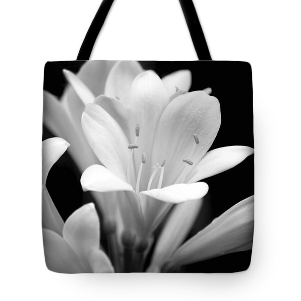 Clivia Flowers Black And White Tote Bag