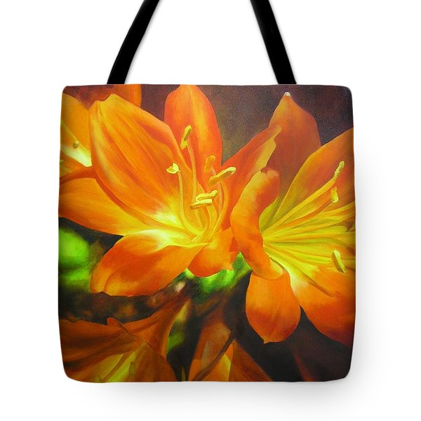 Tote Bag featuring the painting Clivias by Chris Hobel