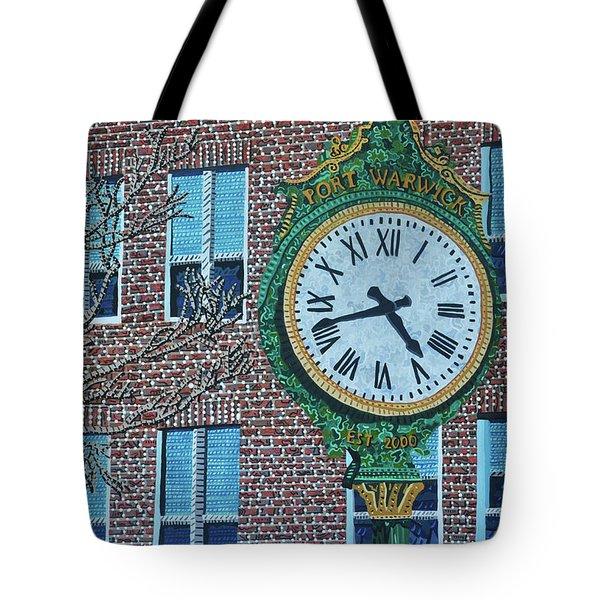 Clock At Port Warwick Tote Bag by Micah Mullen
