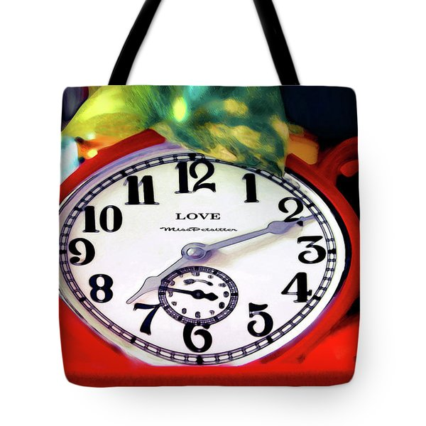 Clock In The Garden Painting 3 Tote Bag