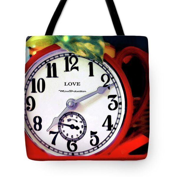 Clock In The Garden Painting  Tote Bag