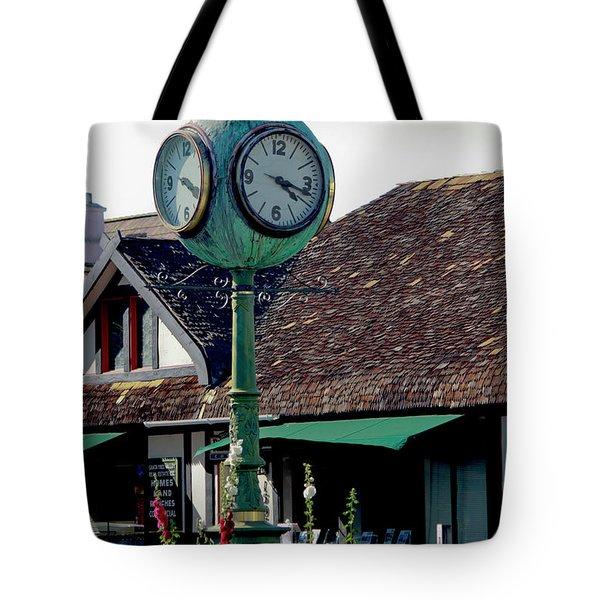Clock Of Solvang Tote Bag