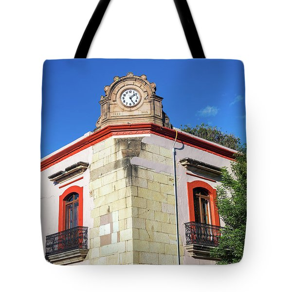 Clock On A Building Tote Bag