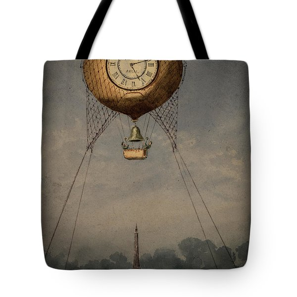 Clock Over Paris Tote Bag