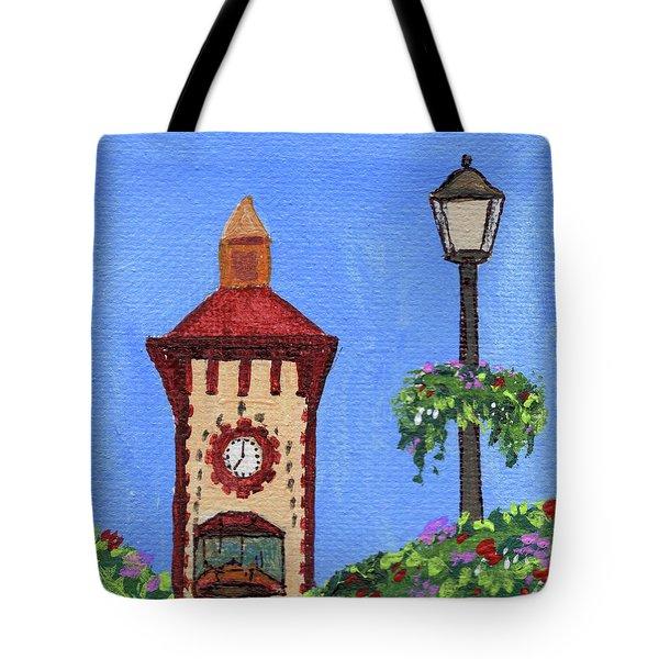 Clock Tower Impressionistic Landscape Xxxvii Tote Bag
