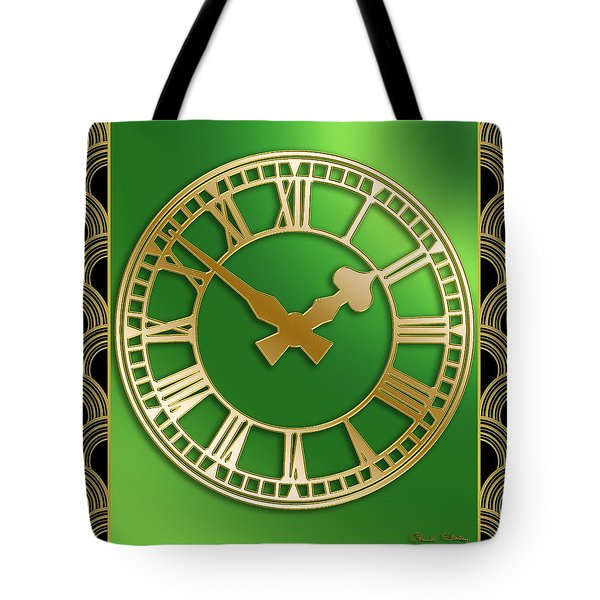 Tote Bag featuring the digital art Clock With Border by Chuck Staley