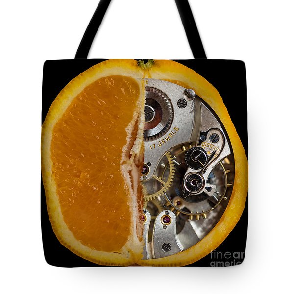 Tote Bag featuring the photograph Clockwork Orange by Brian Roscorla
