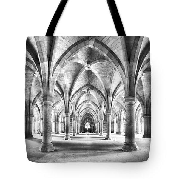 Cloister Black And White Panorama Tote Bag