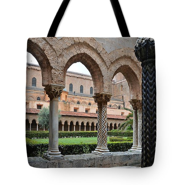 Cloister Of The Abbey Of Monreale. Tote Bag by RicardMN Photography