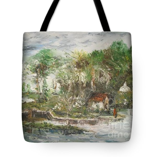 Tote Bag featuring the painting Close To The Retreat by Rushan Ruzaick