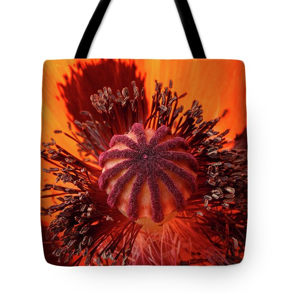 Close-up Bud Of A Red Poppy Flower Tote Bag