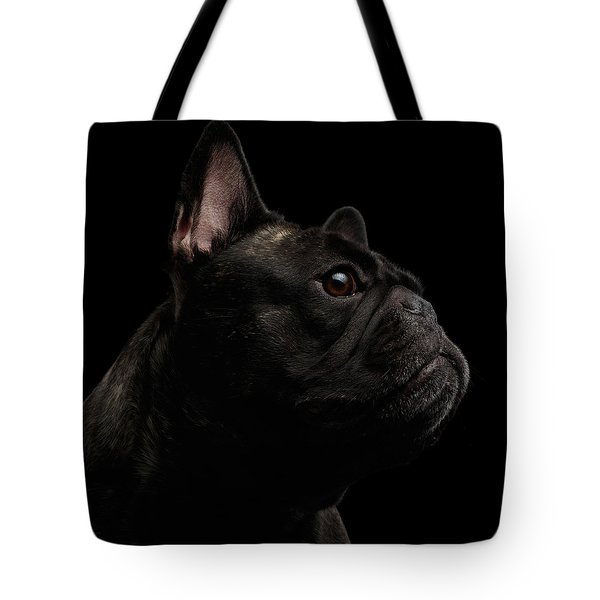 Close-up French Bulldog Dog Like Monster In Profile View Isolated Tote Bag by Sergey Taran