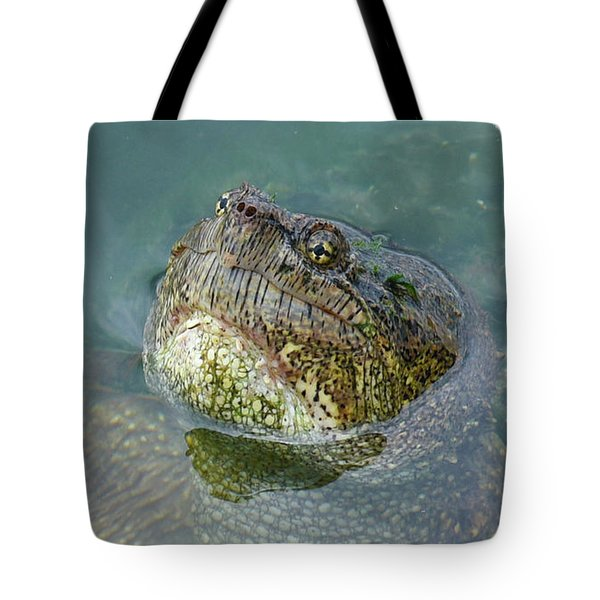Tote Bag featuring the photograph Close Up Of A Snapping Turtle by Sally Sperry