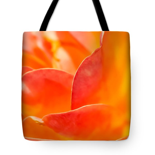 Tote Bag featuring the photograph Close-up Of An Orange Rose Flower by David Perry Lawrence