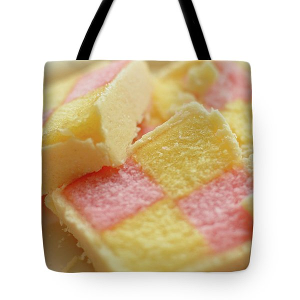 Close Up Of Battenberg Cake E Tote Bag