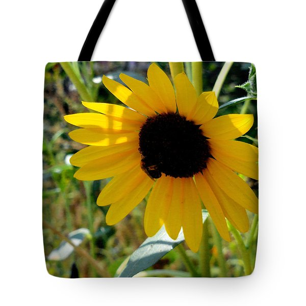 Close Up Of Bee On Sunflower Tote Bag
