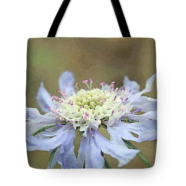 Close Up Of Blue Flower, Scabiosa, Digital Art Tote Bag