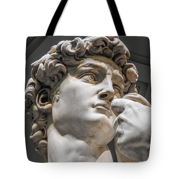 Close Up Of David By Michelangelo Tote Bag