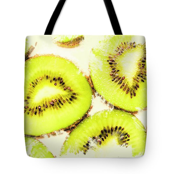 Close Up Of Kiwi Slices Tote Bag by Jorgo Photography - Wall Art Gallery