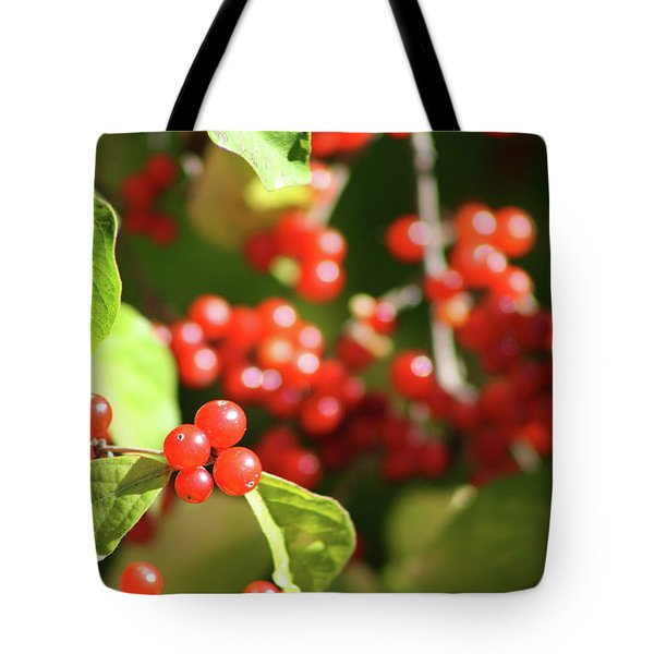 Close Up Of Red Berries Tote Bag by Michele Wilson