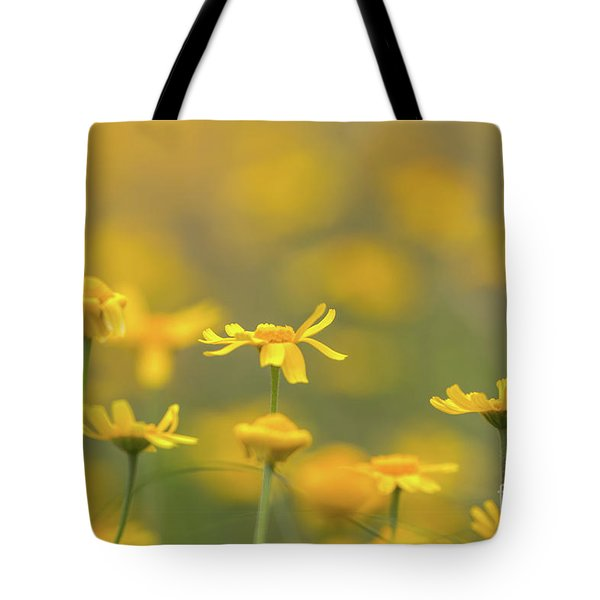 Close Up Of Yellow Flower With Blur Background Tote Bag