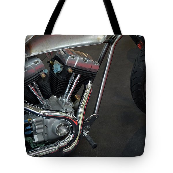 Close Up On Motorcycle Body Tote Bag