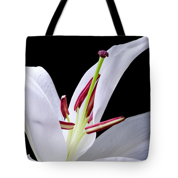 Tote Bag featuring the photograph Close-up Photograph Of A White Oriental  Lily by David Perry Lawrence