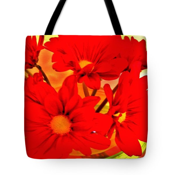 Close Up Red Gerbers Tote Bag by Marsha Heiken